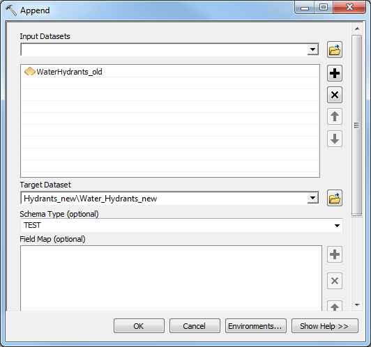 The Append tool dialog box.