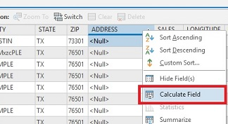An image of selecting the Calculate Field option.