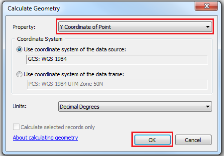 Calculate Geometry dialog box