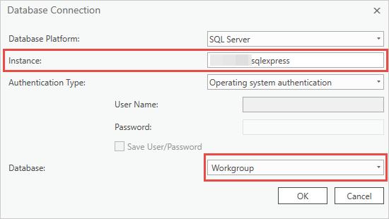 Database Connection dialog box