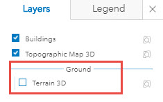 An image showing the Terrain 3D check box is disabled.