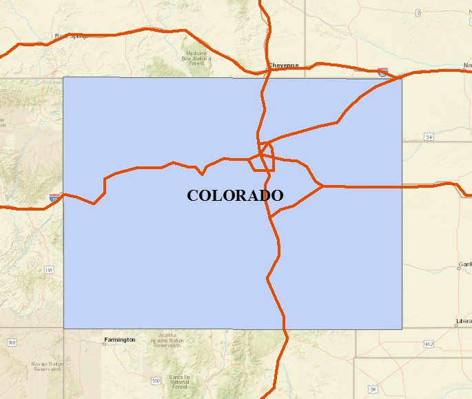 This is the map of Colorado and Interstate roads.