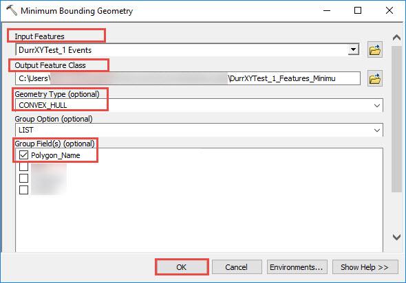 Minimum bounding geometry dialog box