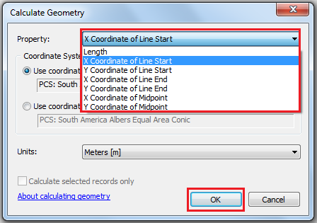 This is the Calculate Geometry dialog box.