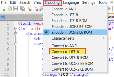 Encoding tab and UTF- 8 option