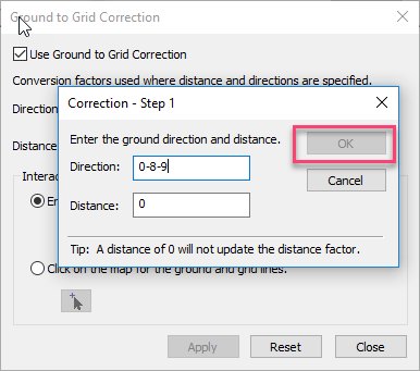 Image of the Correction dialog box