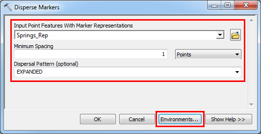 An image of the Disperse Markers dialog box.