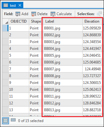 The point feature class is filled with the features and attributes in the attribute table