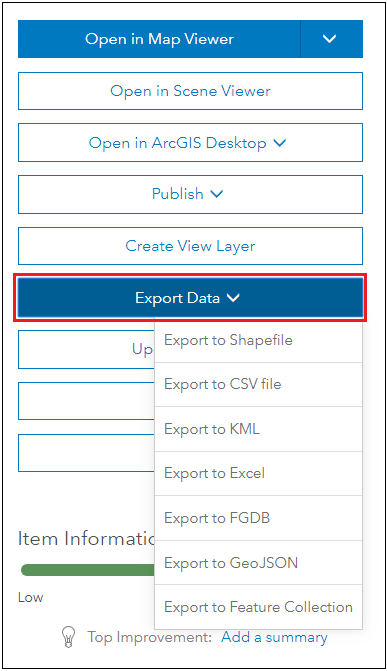 Click the Export Data option.