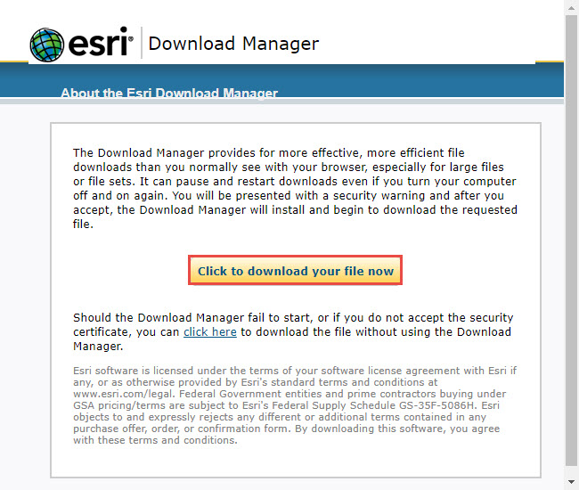Screenshot of the Esri Download Manager with Click to download your file now highlighted.