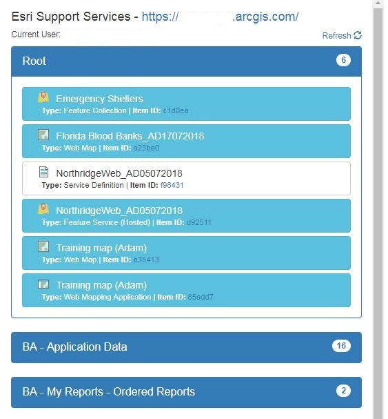 Image of list of items in expanded ArcGIS Online folders.