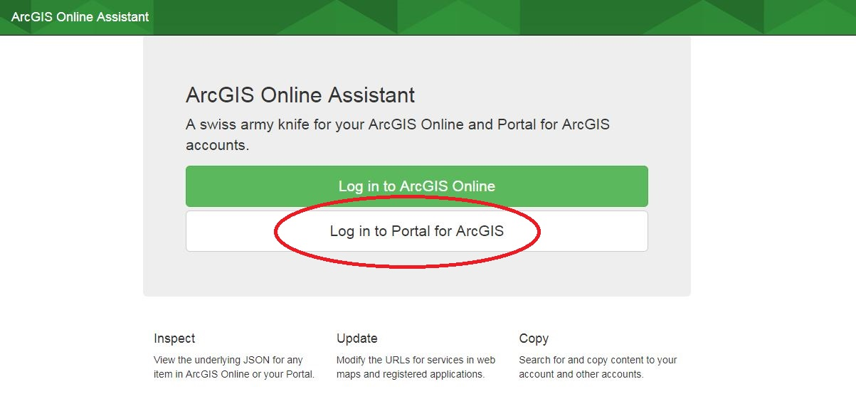 Image of ArcGIS Online Assistant Login Screen