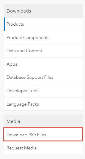 Screenshot of the Products page with Download ISO Files highlighted.