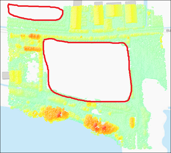 Some point cloud data are not visible in ArcGIS Pro Scene layer