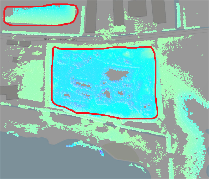 Point cloud data with negative elevation values in the ArcGIS Pro Scene layer