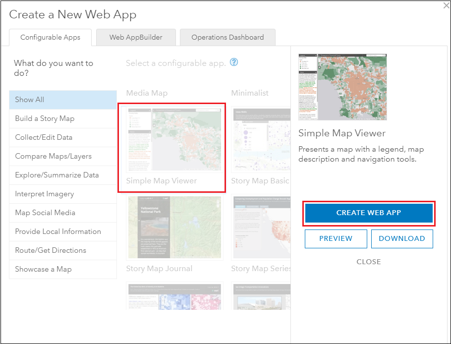 Select the Simple Map Viewer template.