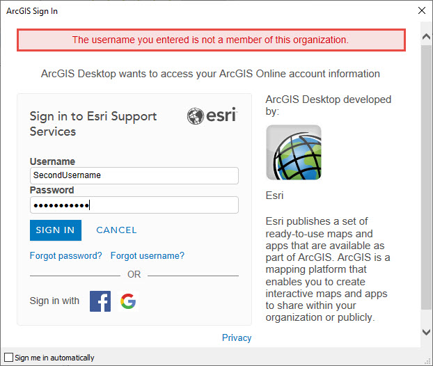 Error message displayed when attempting to log into ArcGIS Online from ArcMap
