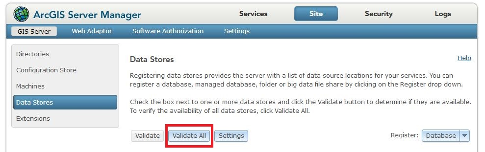 Image of the ArcGIS Server Manager Data Stores page.