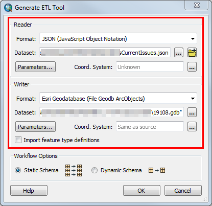 An image of the Generate ETL Tool dialog box.