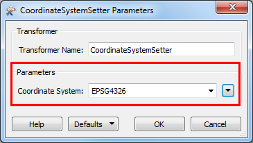 An image of the CoordinateSystemSetter Parameters dialog box.