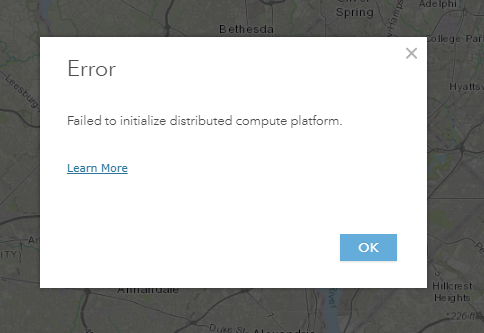 "Screenshot of the ""Failed to Initialize distributed compute platform"" error message"