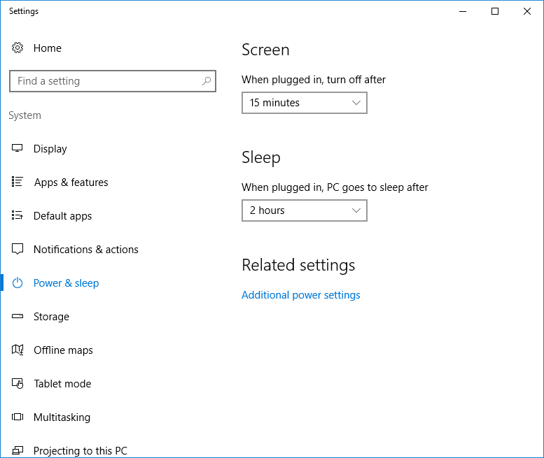 Image of the Windows 10 Power & Sleep Settings window.