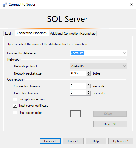 Image of the Connection Properties in SQL Server Management Studio.