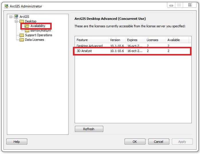 Image of the availability of 3D Analyst Concurrent-Use licenses in ArcGIS Administrator