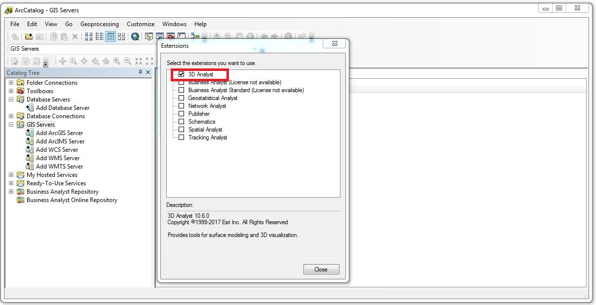 Image of the Extensions window in ArcCatalog.