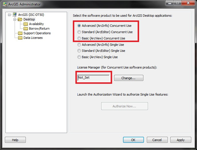 Image of the ArcGIS Administrator window showing no License Manager is defined