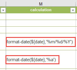 Format-date expression added in calculation column