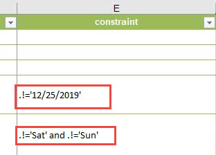 Format-date function added for public holiday and weekend in constraint column