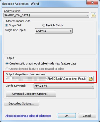 An image of the Geocode Addresses dialog box.
