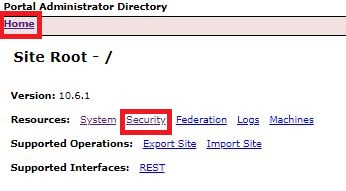Image of Security path selection in Portal Administrator Directory