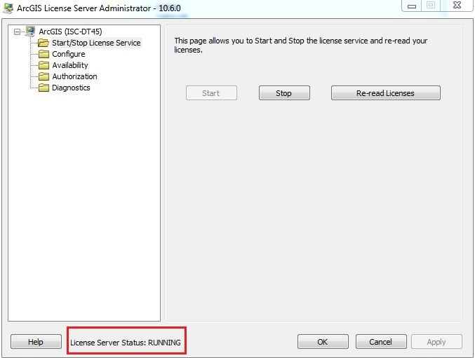 ArcGIS License Server Administrator status page