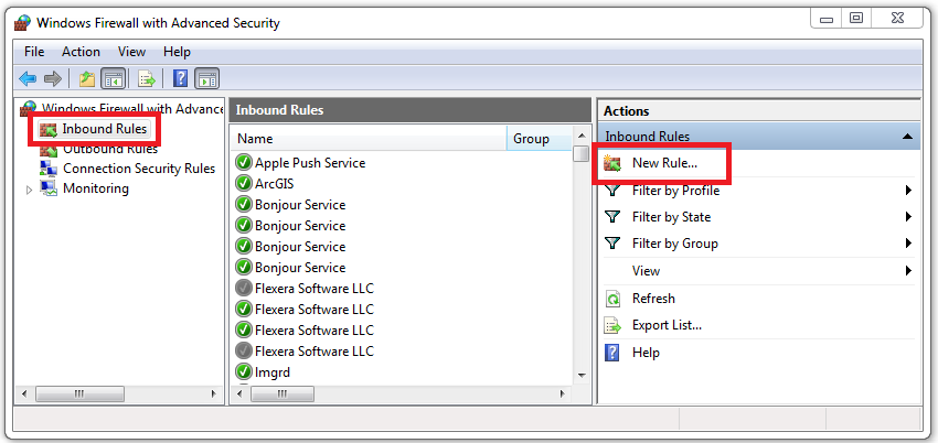 Image of the Windows Firewall Inbound Rules window