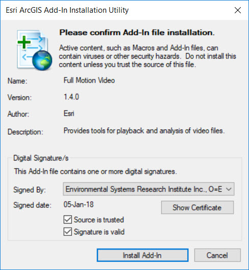 Screenshot of the FMV Add-In Installation Utility
