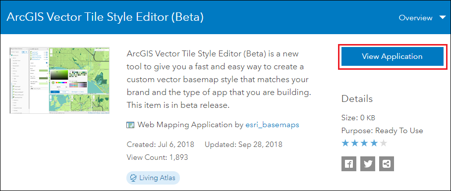 This is the ArcGIS Vector Tile Style Editor app page.