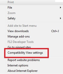 Image of the Compatibility View Settings selection under Tools