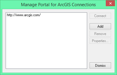 image of Manage Portal for ArcGIS Connections dialog box