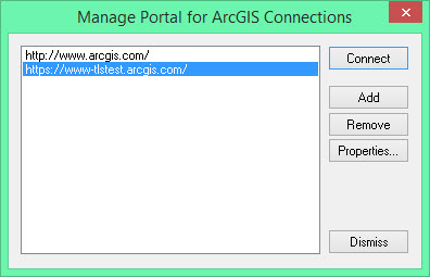 image of the Manage Portal for ArcGIS Connections dialog