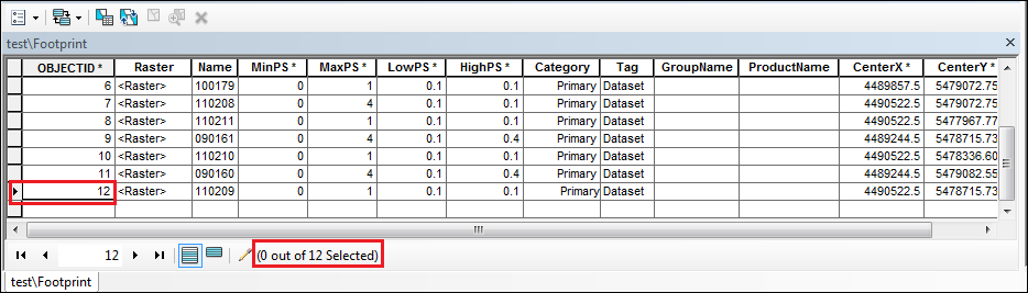 View the maximum number of raster images in the Footprint attribute table