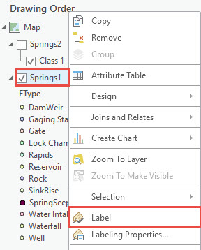 Contents pane showing the label option
