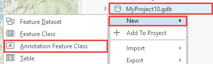 Catalog pane showing the annotation feature class option