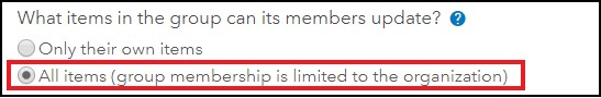 An image showing the What items in the group can its members update? setting