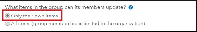 An image showing the What items in the group can its members update? setting.