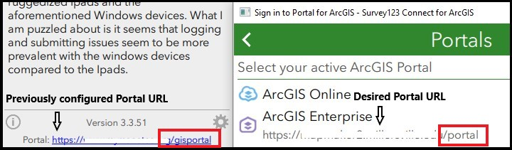 A screenshot of the Survey123 Connect for ArcGIS window with the Portal URLs
