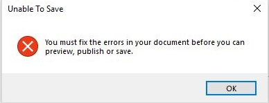 Unable to save error message.