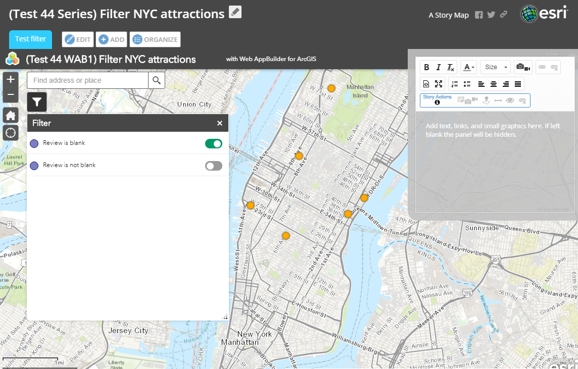 This is a web app with the configured Filter widget embedded inside Story Map Series.