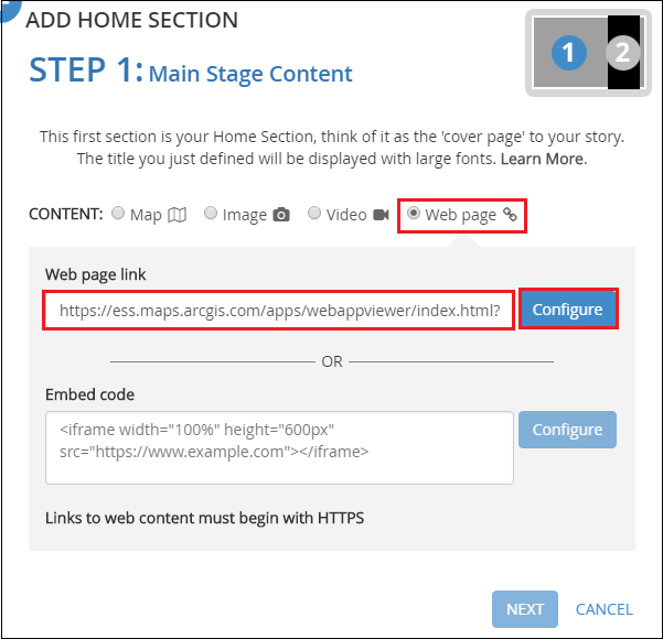 This is the ADD HOME SECTION dialog.